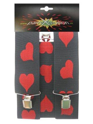 Bretel zwart met rode hartjes mt. 50 mm-0