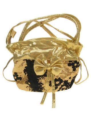 Schoudertas pailletten goud/zwart+strik met riem-0