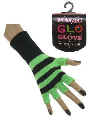 Vingerloze handschoen fluor groen/zwart oplichtend mt. 20 cm-0