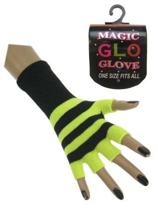 Vingerloze handschoen fluor geel/zwart oplichtend mt. 20 cm-0