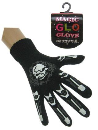 Handschoen skull met vingers zwart oplichtend mt. 20 cm-0