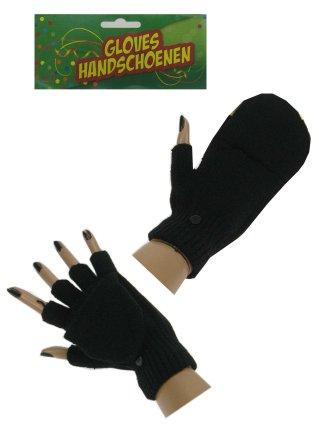 Vingerloze handschoen zwart met kapje mt. 20 cm-0