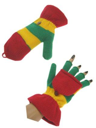 Vingerloze handschoen rood/geel/groen met kapje mt. 20 cm-0
