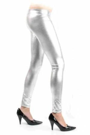 Legging metallic zilver mt. L/XL-0