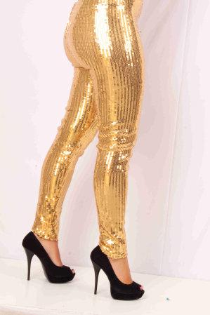 Pailletten stretch legging vol goud mt. S/M-0