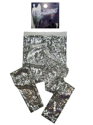 Pailletten stretch legging vol zilver mt. S/M-0
