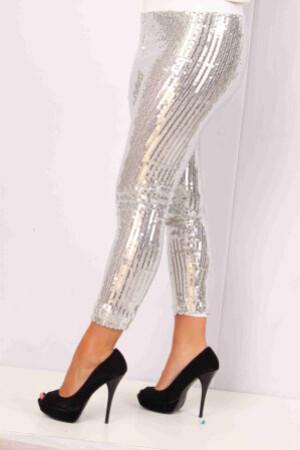 Pailletten stretch legging vol zilver mt. L/XL-0