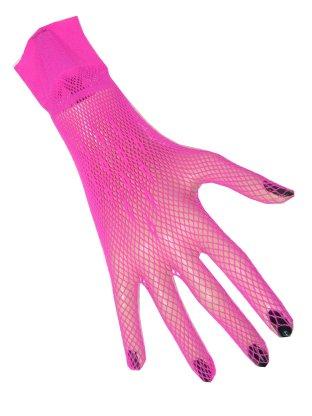 Nethandschoenen + vingers fluor pink kort-0