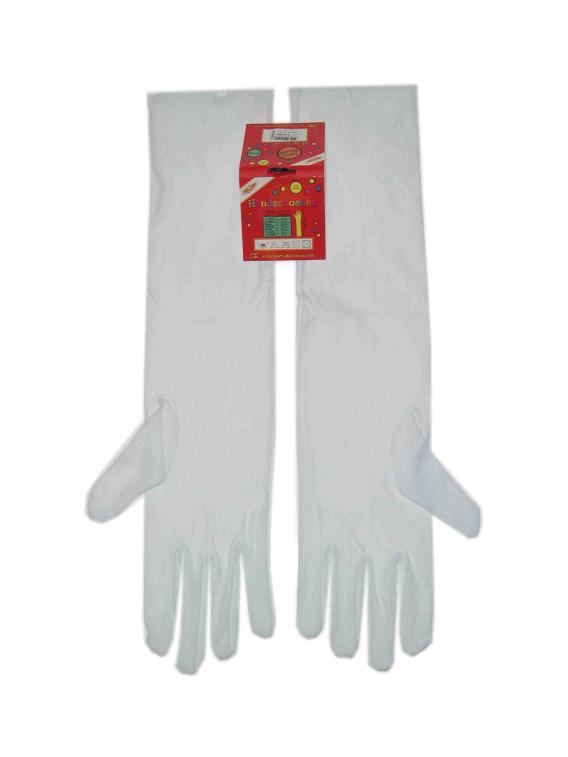 Handschoenen stretch wit luxe nylon 40 cm mt. L-0