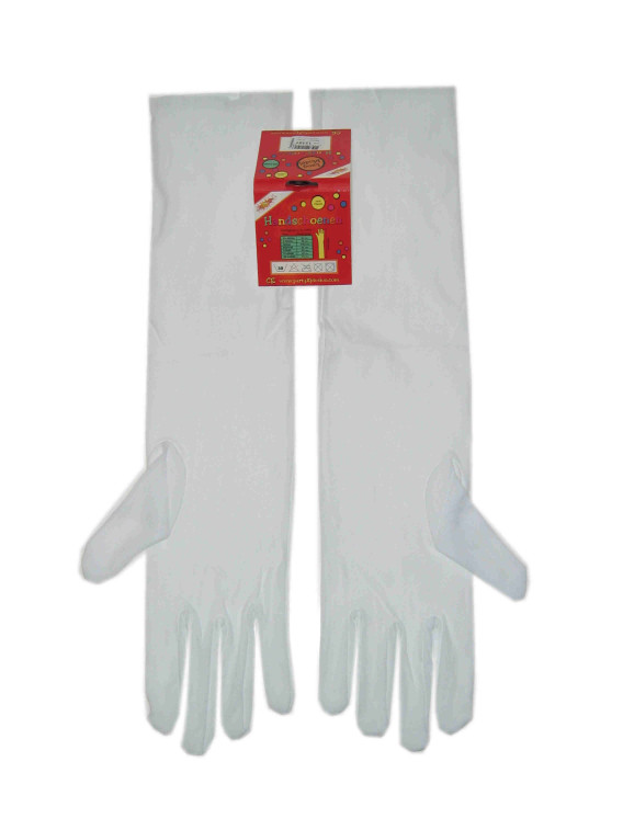 Handschoenen stretch wit luxe nylon 45 cm mt. XL-0