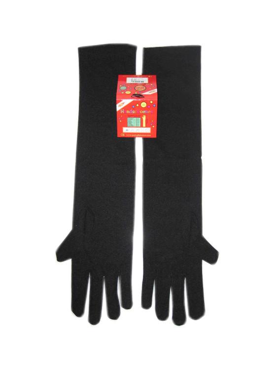 Handschoenen stretch zwart luxe nylon 30 cm (Piet) mt. XXS-0