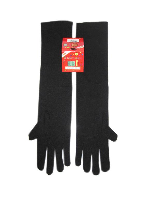 Handschoenen stretch zwart luxe nylon 32 cm (Piet) mt. XS-0