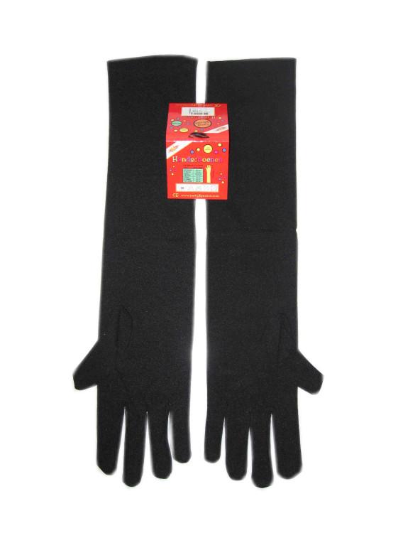 Handschoenen stretch zwart luxe nylon 35 cm (Piet) mt. S-0