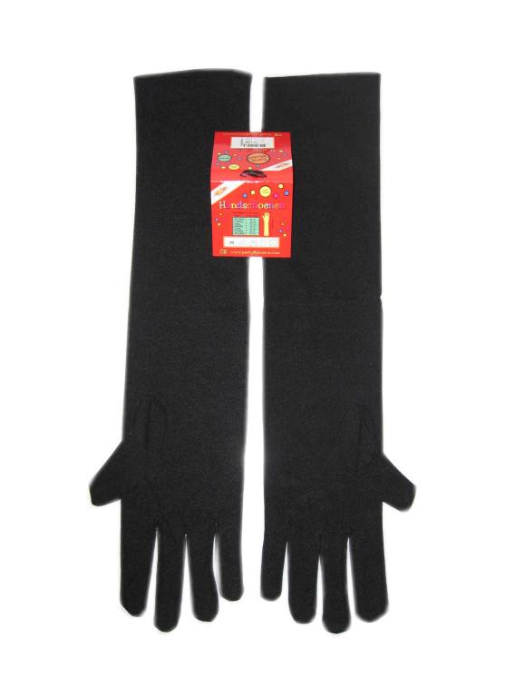 Handschoenen stretch zwart luxe nylon 37 cm (Piet) mt. M-0