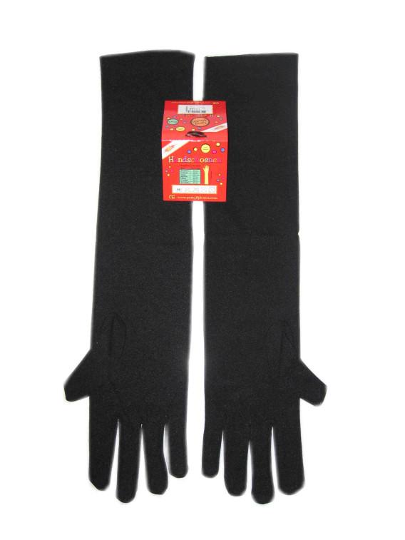 Handschoenen stretch zwart luxe nylon 40 cm (Piet) mt. L-0