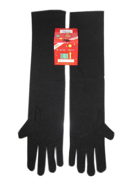 Handschoenen stretch zwart luxe nylon 50 cm (Piet) mt. XXL-0