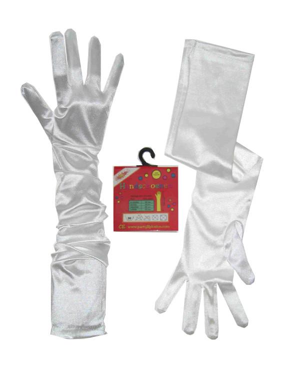 Handschoenen satijn stretch wit luxe 48 cm mt. XS-0