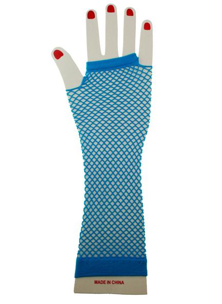 Nethandschoenen lang vingerloos fluor blauw-0