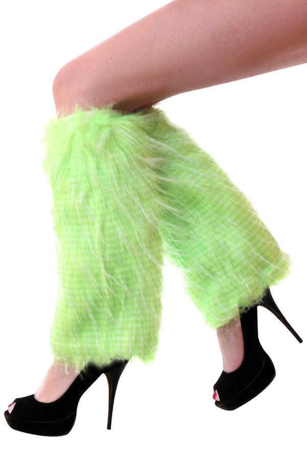 Beenwarmers pluche strepen fluor groen-0