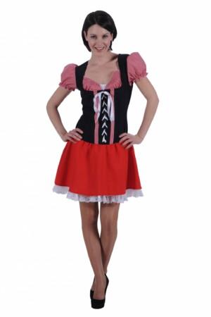 Dirndl jurkje rood / zwart monika