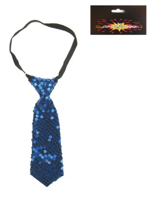 Stropdas pailletten blauw-0