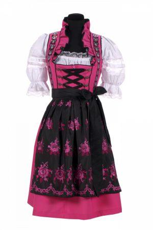 Dirndl jurk roze / zwart amalia