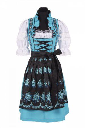Dirndl jurk lichtblauw / zwart amalia