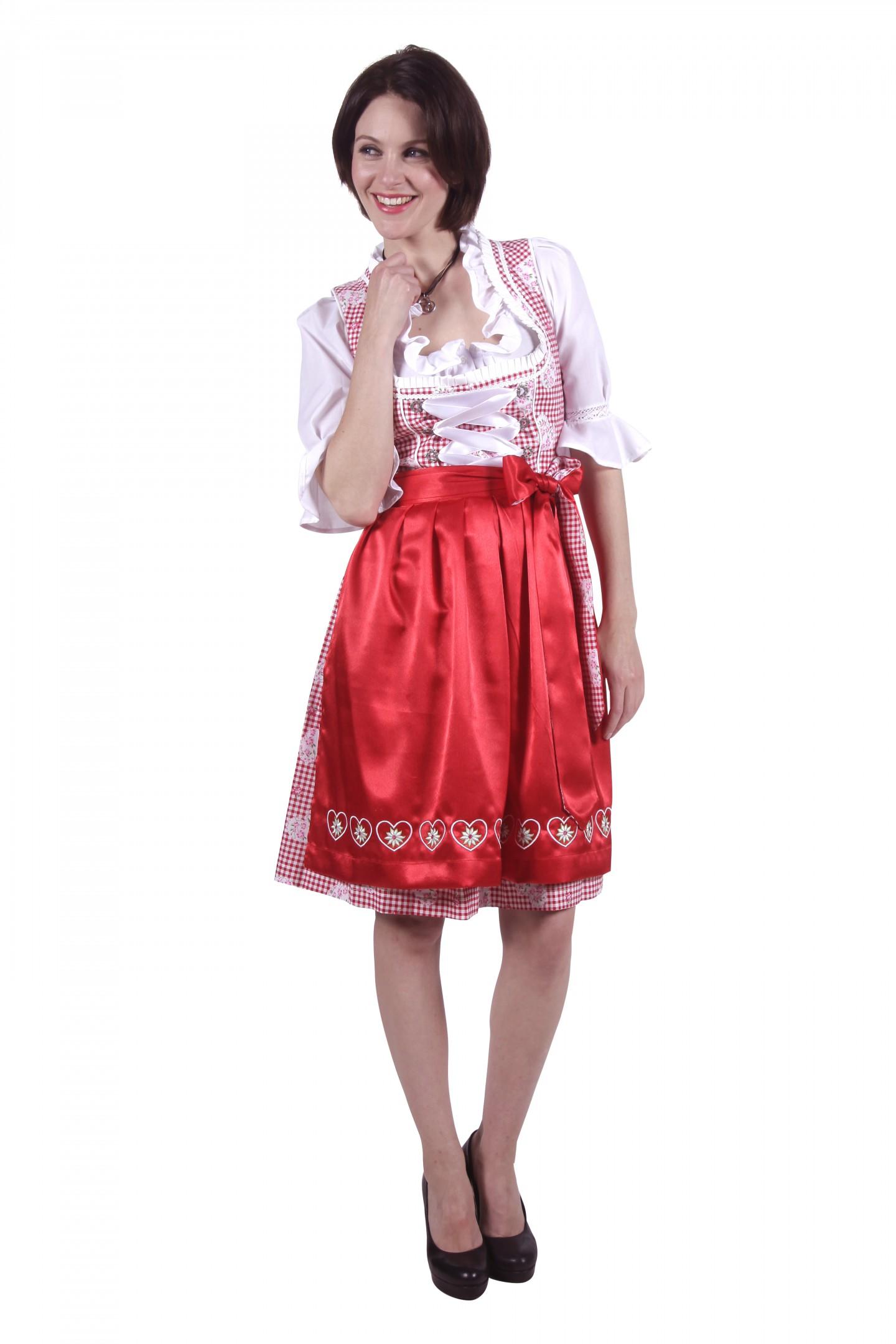 Dirndl jurk rood / wit eva