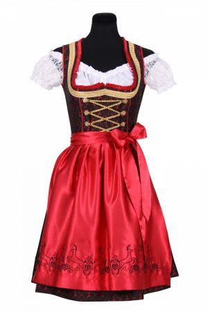 Dirndl jurkje rood / zwart franziska hert