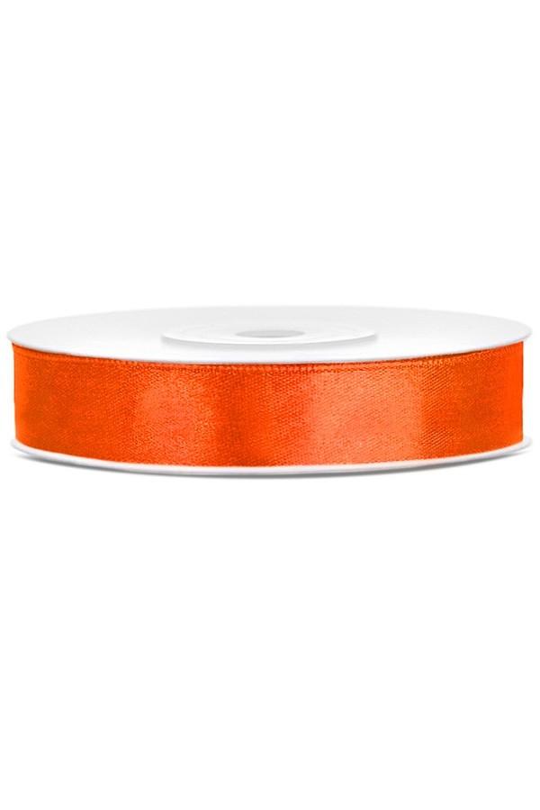 Satin Ribbon lint 12 mm,  rol 25 meter kleur: Oranje-0