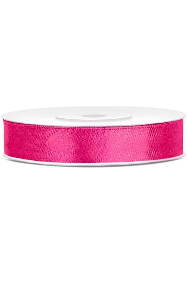 Satin Ribbon lint 12 mm,  rol 25 meter kleur: Dark pink-0