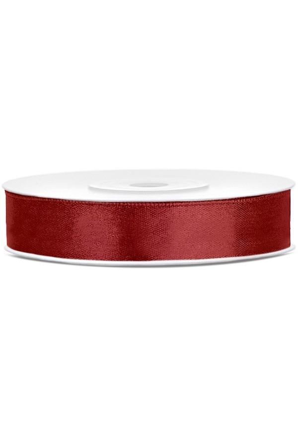 Satin Ribbon lint 12 mm,  rol 25 meter kleur: Bordeaux-0