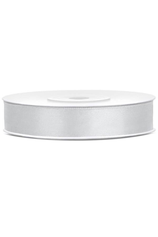 Satin Ribbon lint 12 mm,  rol 25 meter kleur: Zilver-0