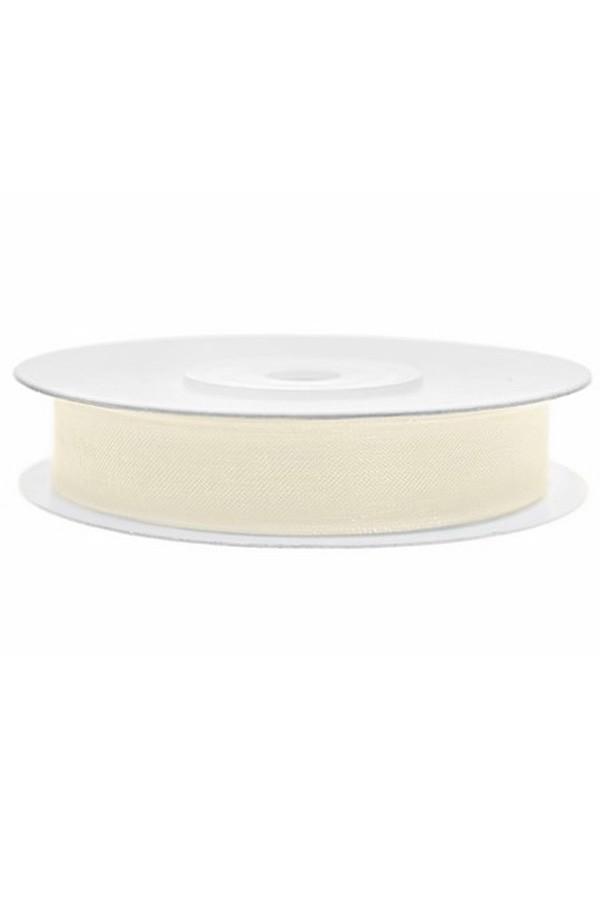 Satin Ribbon lint 12 mm,  rol 25 meter kleur: Creme-0