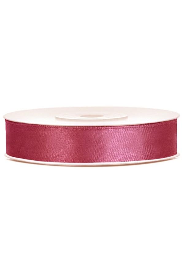 Satin Ribbon lint 12 mm,  rol 25 meter kleur: Red wine-0