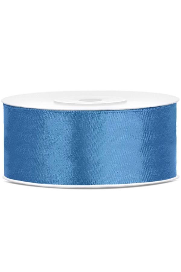 Satin Ribbon lint 25 mm , rol 25 meter kleur: Blauw-0