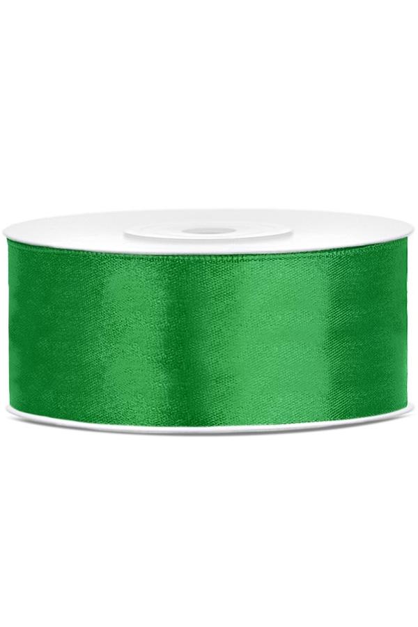 Satin Ribbon lint 25 mm , rol 25 meter kleur: Emerald groen-0