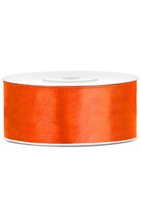 Satin Ribbon lint 25 mm , rol 25 meter kleur: Oranje-0