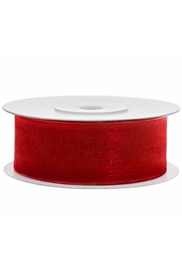 Satin Ribbon lint 25 mm , rol 25 meter kleur: Rood-0