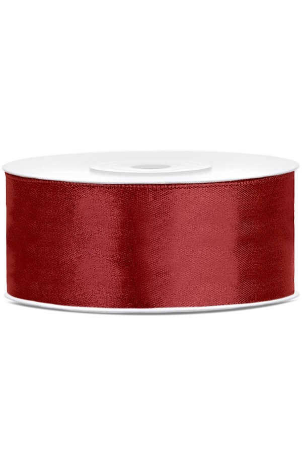 Satin Ribbon lint 25 mm , rol 25 meter kleur: Bordeaux-0