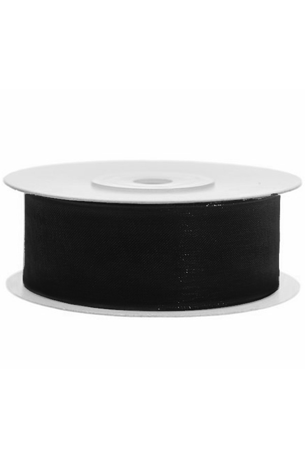 Satin Ribbon lint 25 mm , rol 25 meter kleur: Zwart-0
