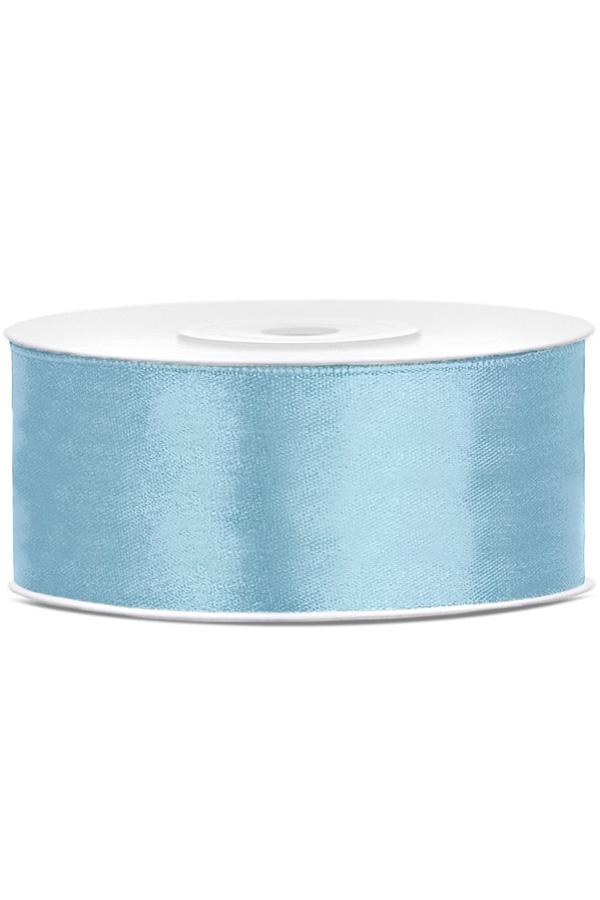 Satin Ribbon lint 25 mm , rol 25 meter kleur: Hemel blauw-0