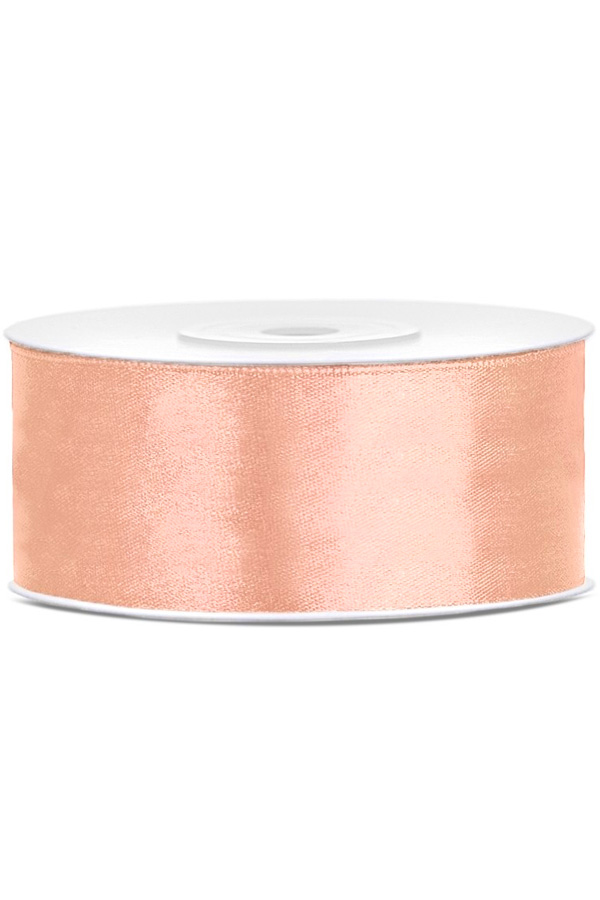 Satin Ribbon lint 25 mm , rol 25 meter kleur: Peach-0