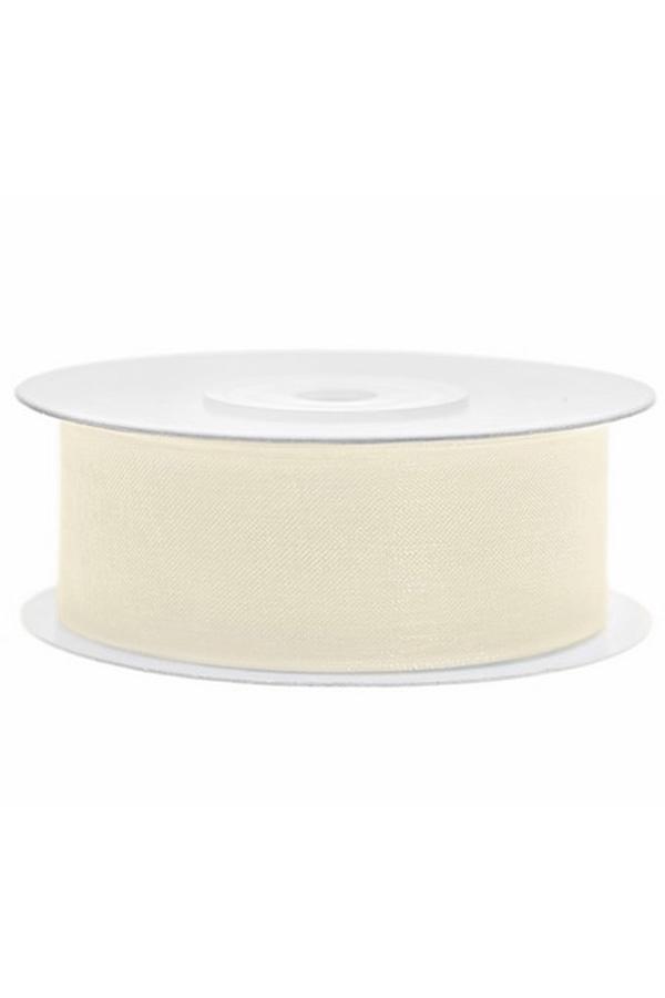 Satin Ribbon lint 25 mm , rol 25 meter kleur: Creme-0