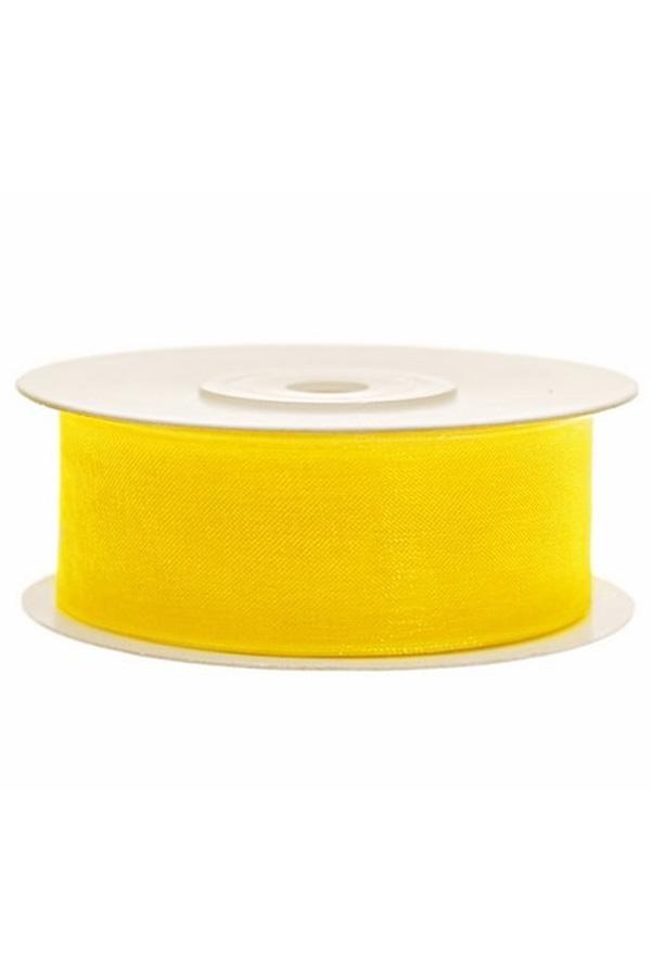 Satin Ribbon lint 25 mm , rol 25 meter kleur: Geel-0