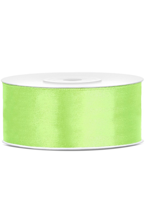 Satin Ribbon lint 25 mm , rol 25 meter kleur: Appel groen-0