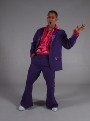 70s kostuum paars '-0
