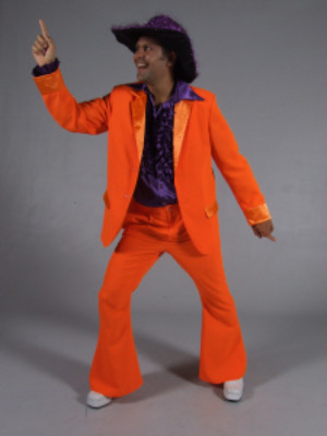70s kostuum fluor oranje-0