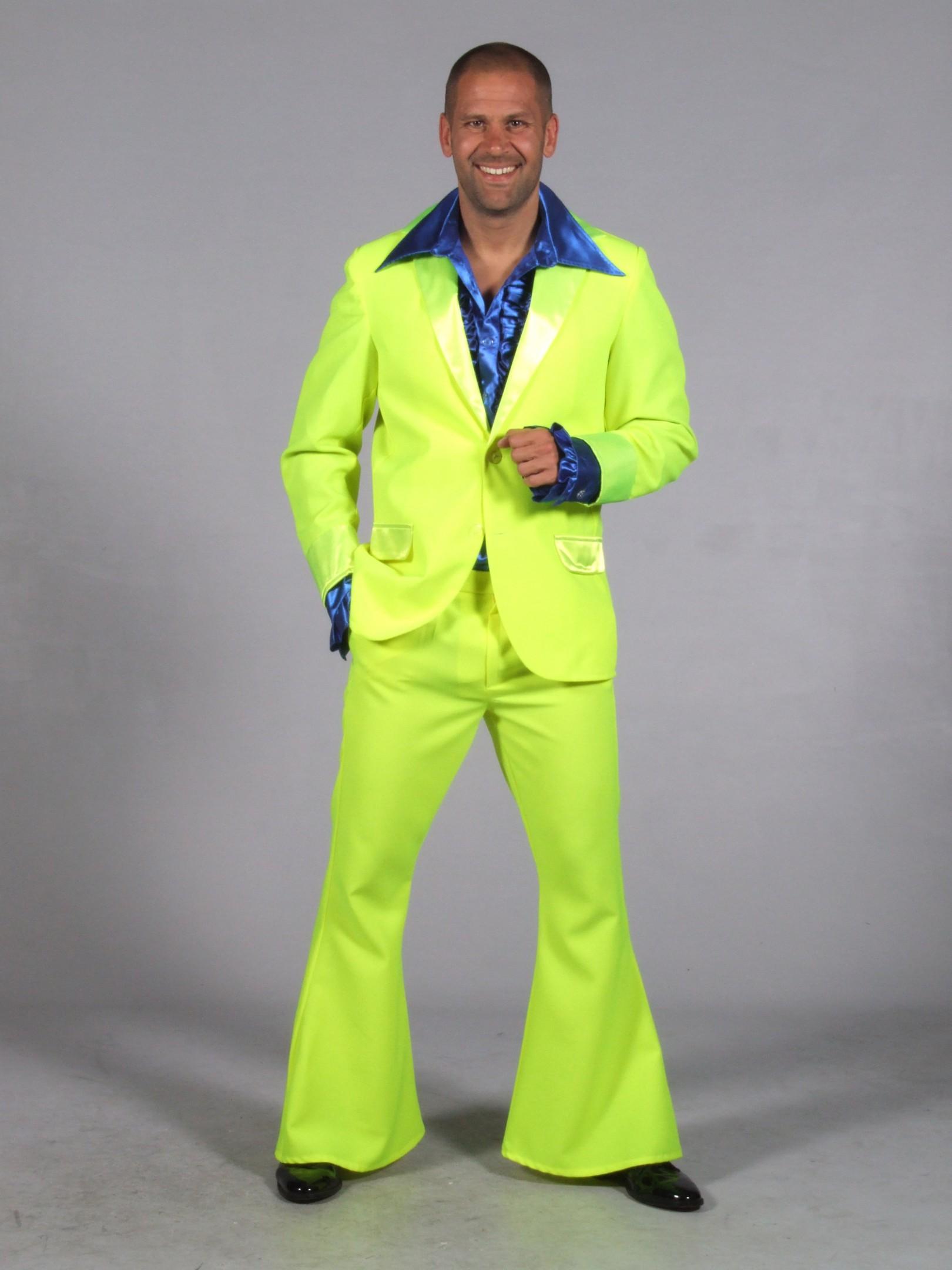 70s kostuum fluor geel-0