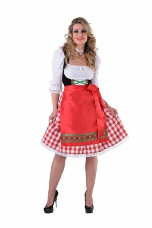 Dirndl jurk lang rood / wit